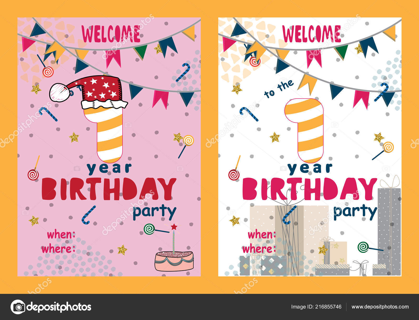 Set Of Happy Birthday Cards Design For One Year Old Baby Stock Vector