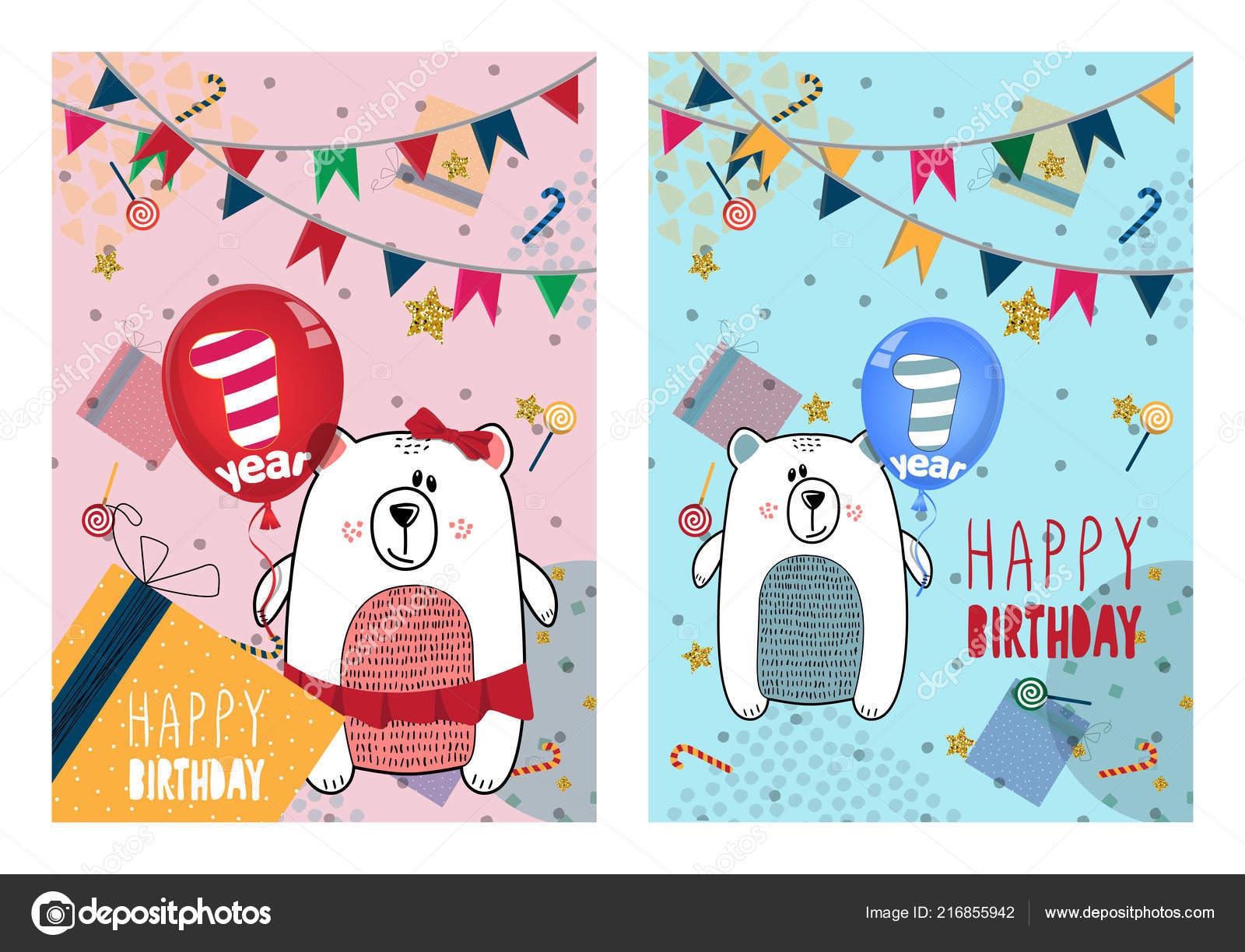 Satz Von Happy Birthday Karten Design Fur Ein Jahr Altes Baby Stockvektor