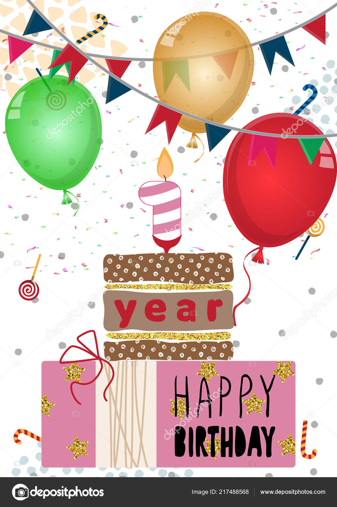 Birthday Card For One Year Old Baby Girl Happy Birthday Card Design For One Year Old Baby Stock Vector C Bezvetrenniy 217488568