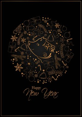 Happy New Year 2019 Card for your design.
