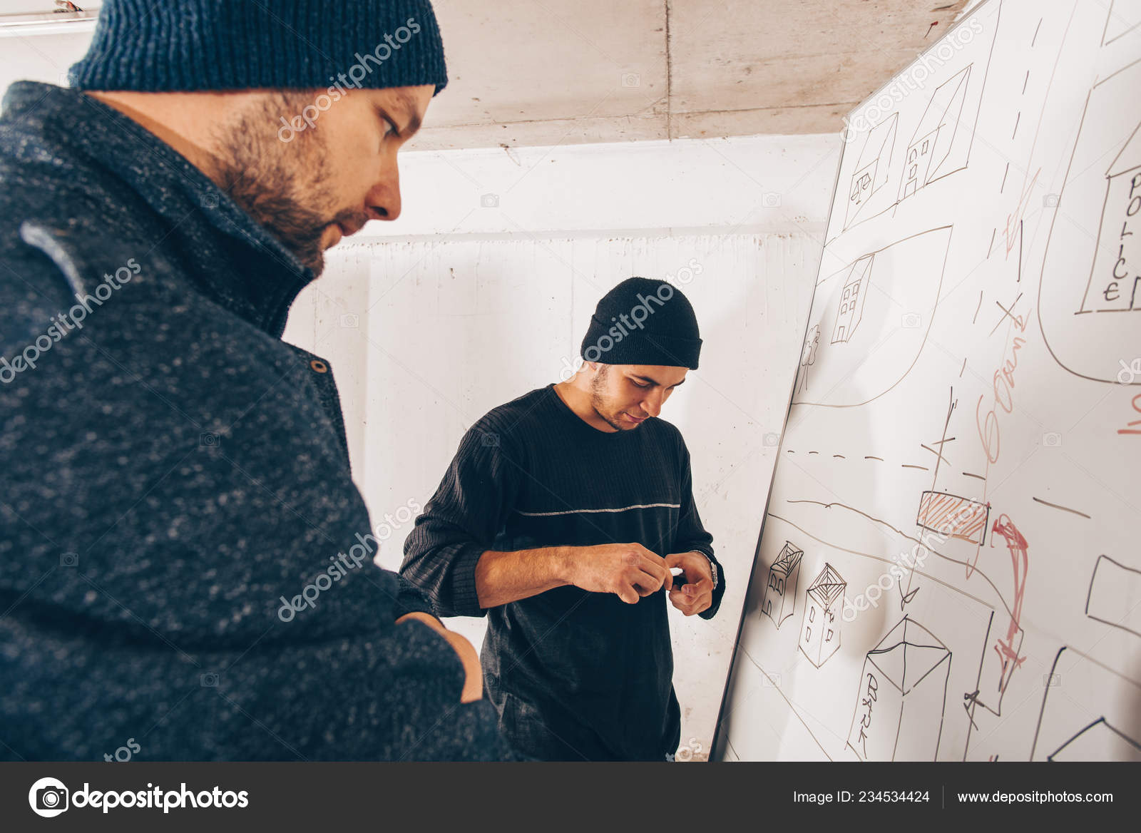 Stealers Making Plan Money Heist — Stock Photo © gorgev