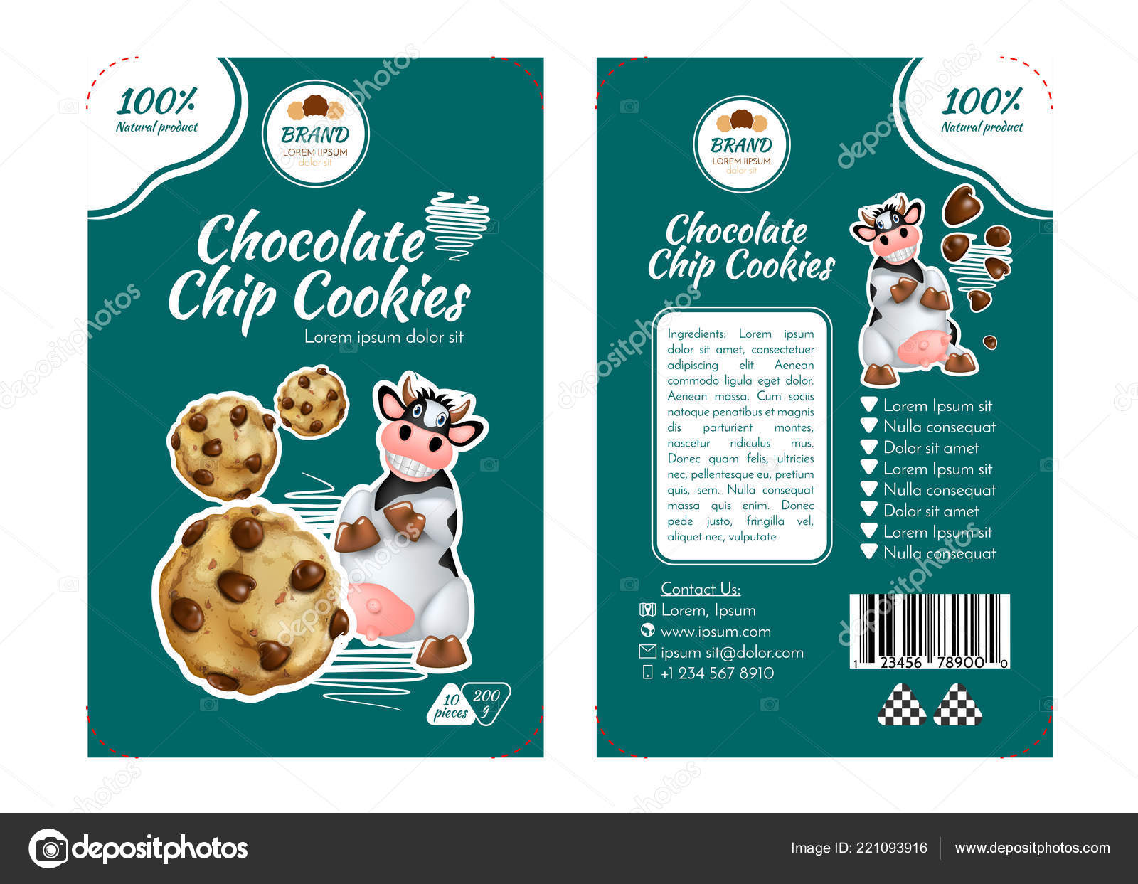 Chocolate chip cookies concept labels packaging design realistic vector illustration stock vector