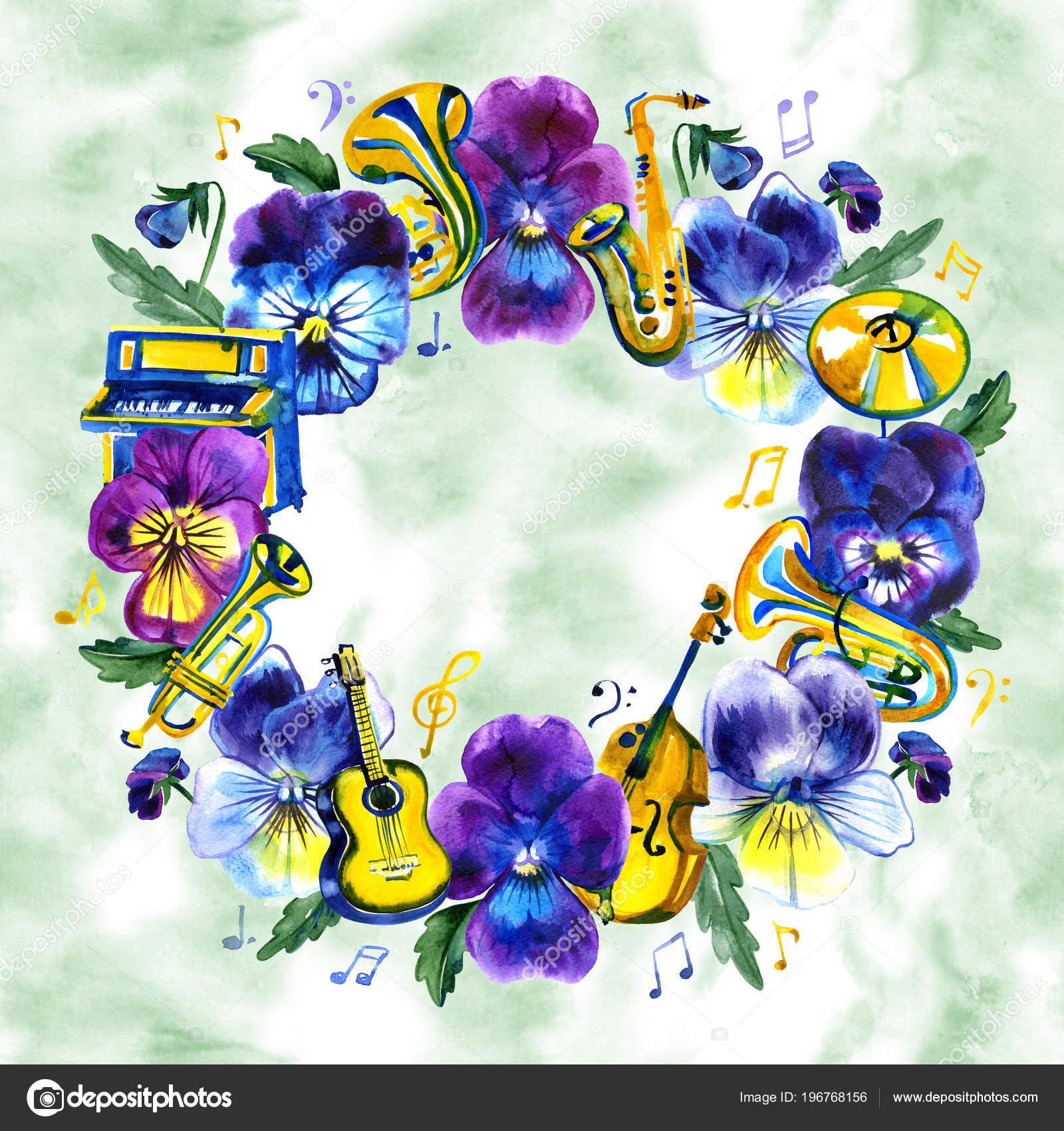Concierto festival de música Jazz y Blues. Marco de la acuarela ...