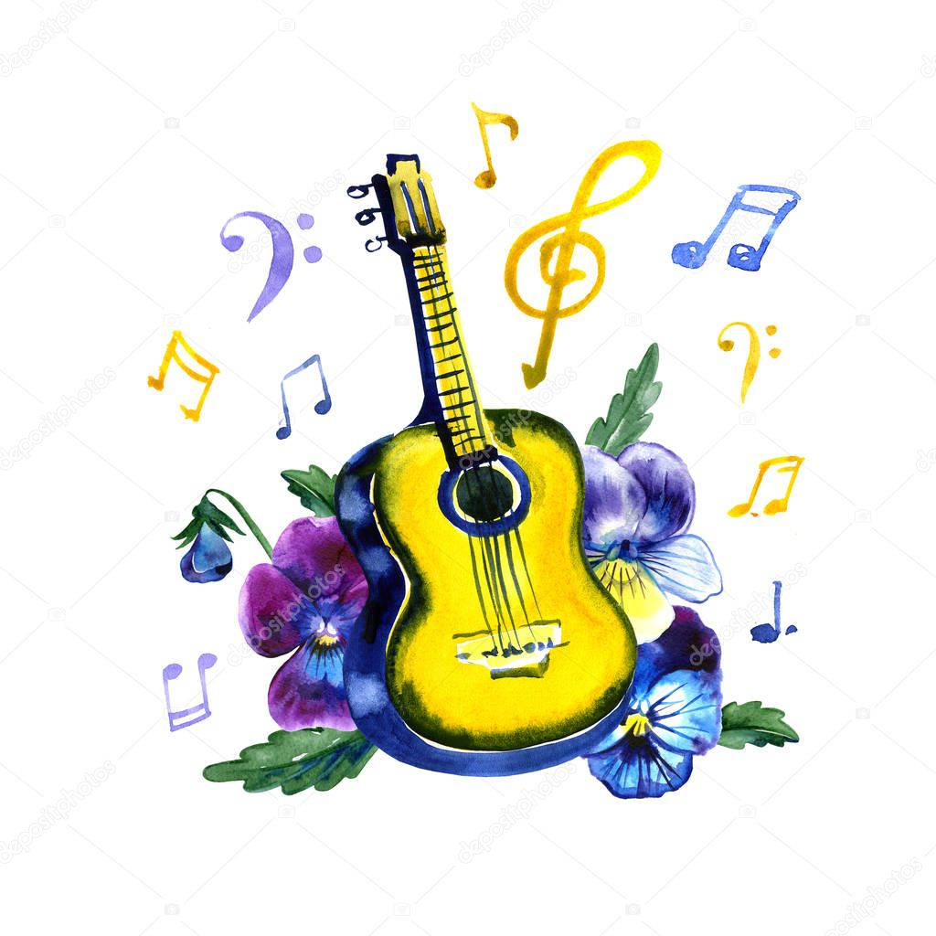 Acoustic guitar with pansy flowers. Watercolor illustration on white background