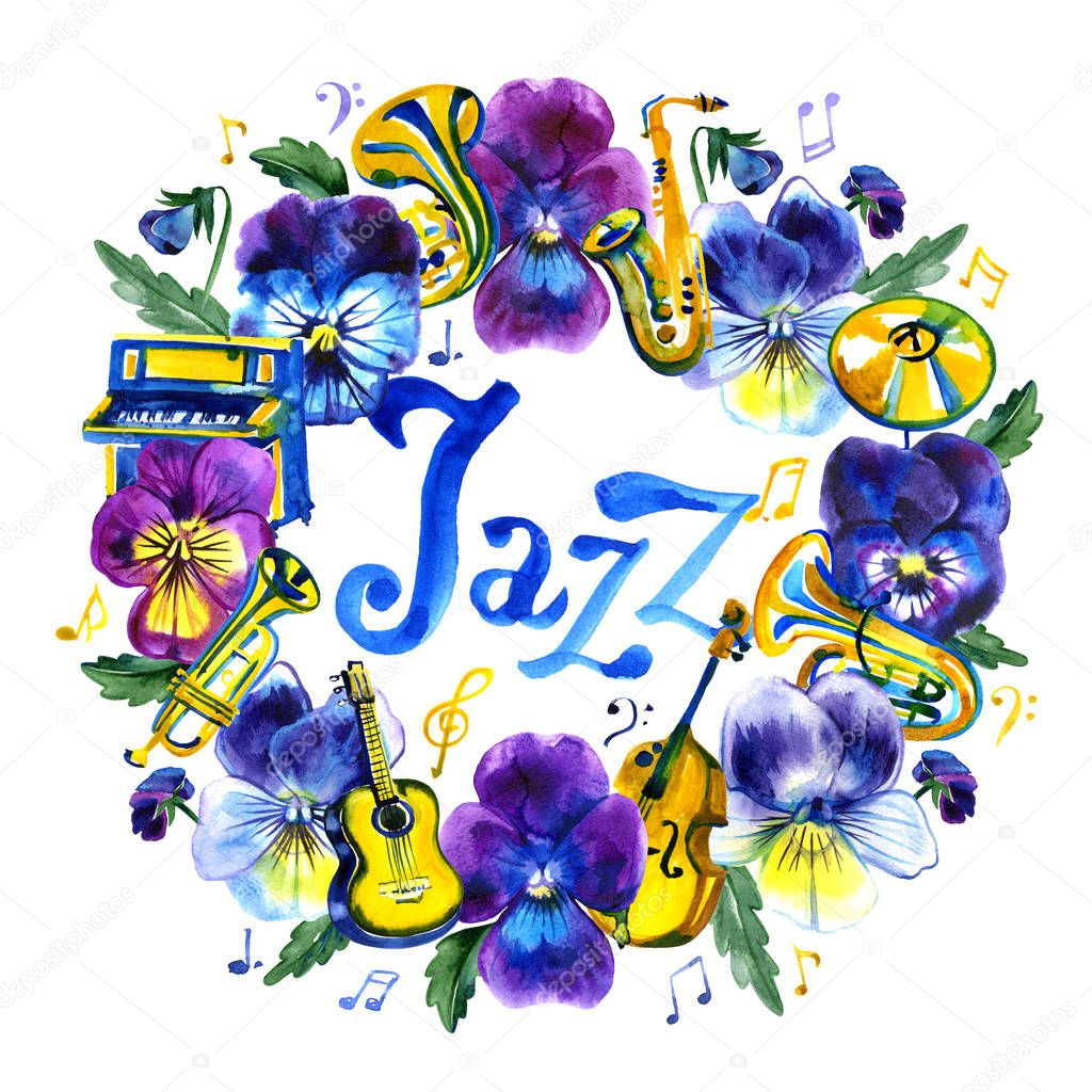 Summer concert Jazz and Blues music festival. Watercolor frame. Poster background template.