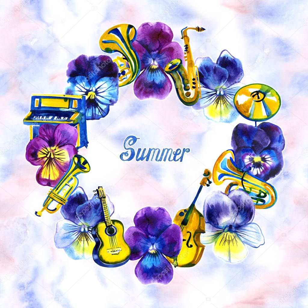 Watercolor detailed pansy flowers and musical instruments with notes in classic style for design
