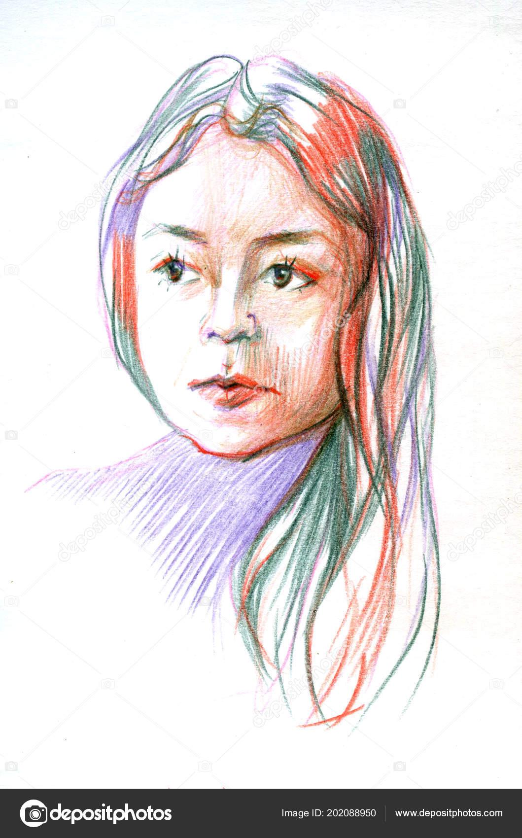 Sulu Boya Renk Pansil Resimde Güzel Kadın Yüzü Stok Foto 7slonov