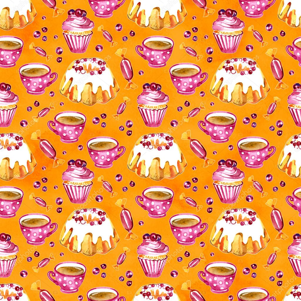 Seamless pattern of a cake, cupcake and cranberry. Picture of a dessert.Watercolor hand drawn illustration.White background.