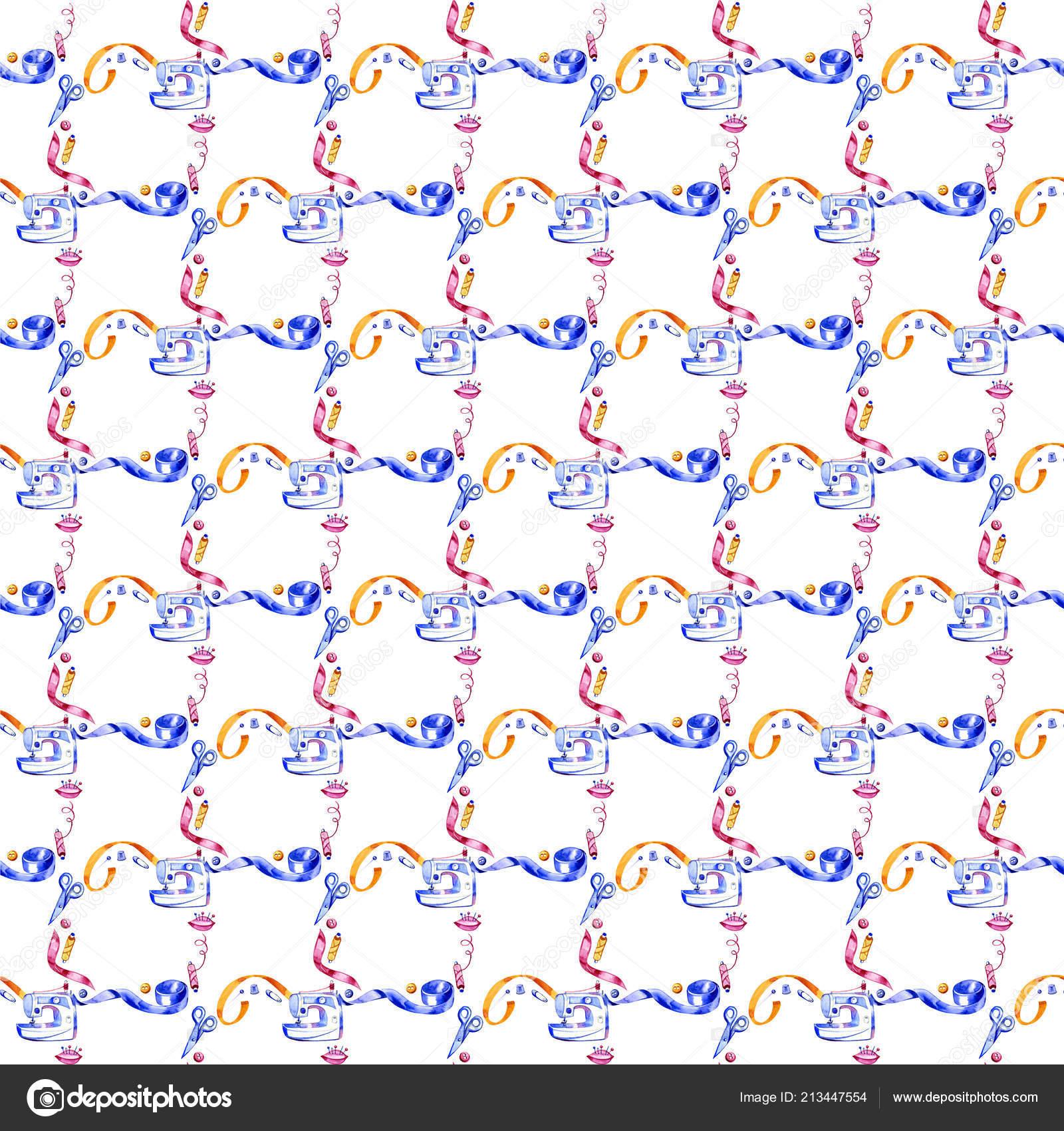 Acuarela de patrones sin fisuras de diferentes herramientas de ...