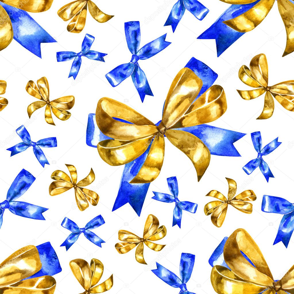 Seamless pattern with watercolor gold bow on a white background