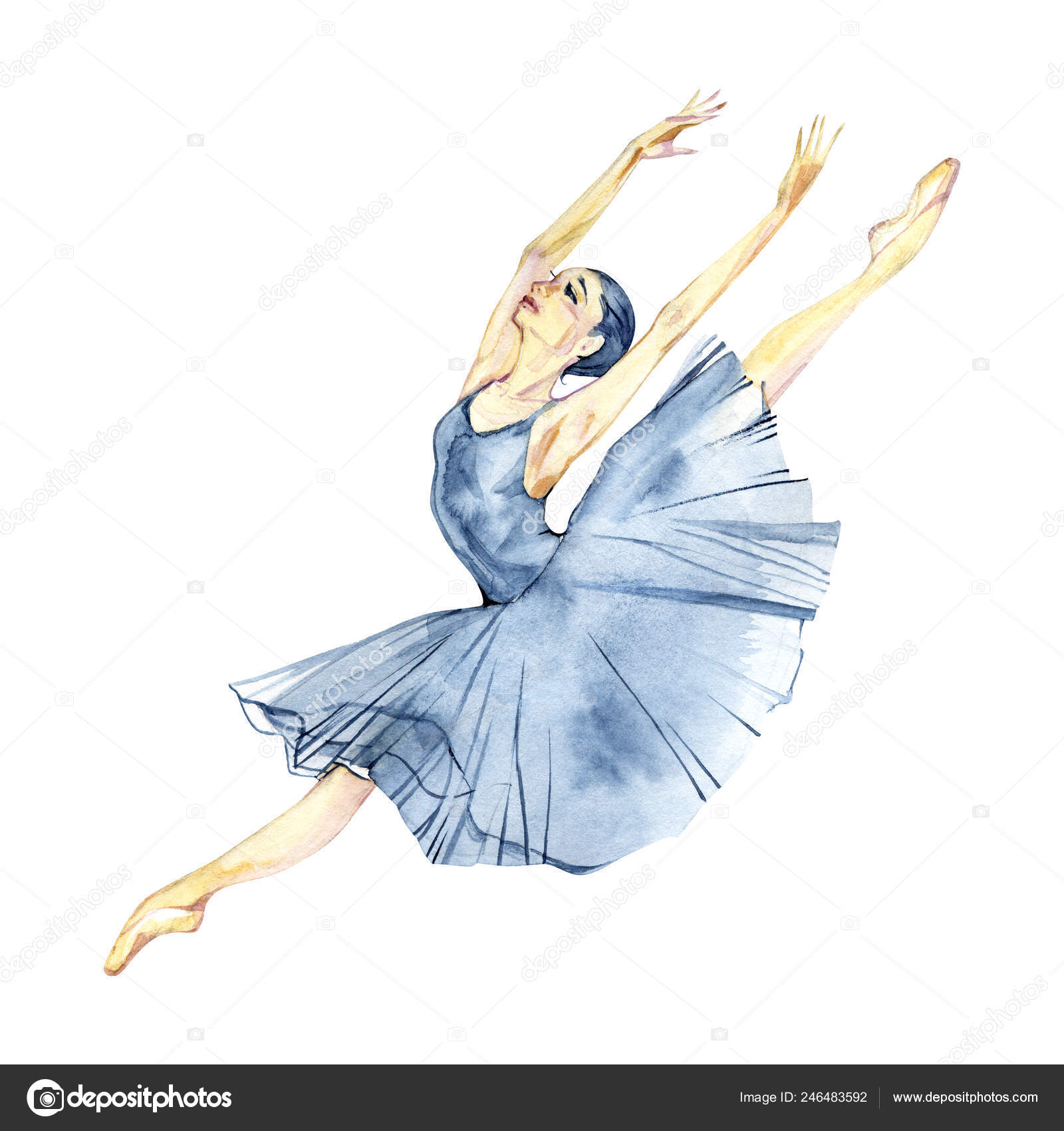 Ballerina Dancing Watercolor Painting Isolated On White Background Greeting Card Stock Photo C 7slonov 246483592