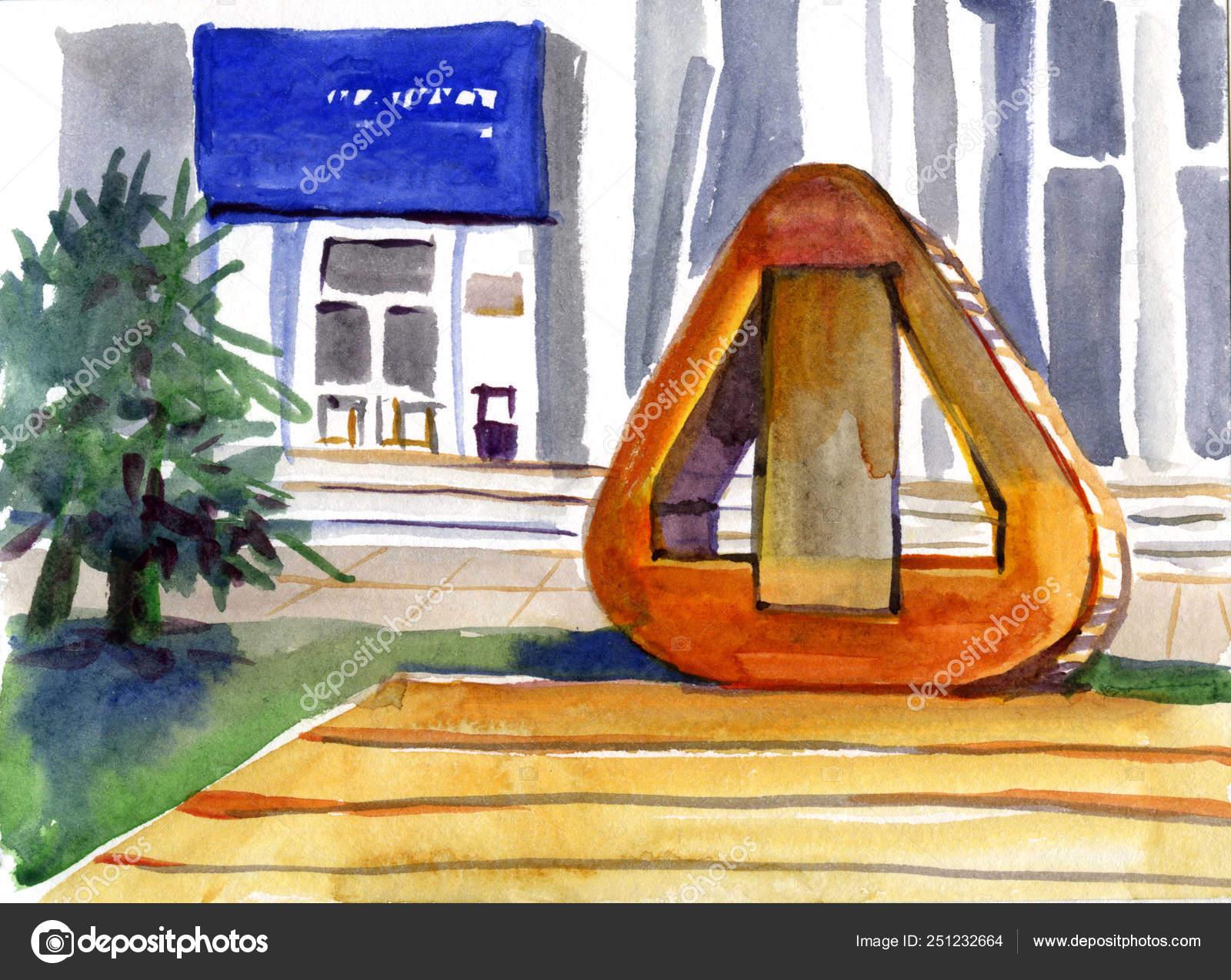 Ilustración Acuarela Hermosa Azotea Terraza Exterior Con
