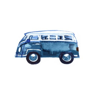 Watercolor Vintage Hippie Camper Van, isolated on white background. Retro illustration. Element for your design. Watercolor texture.