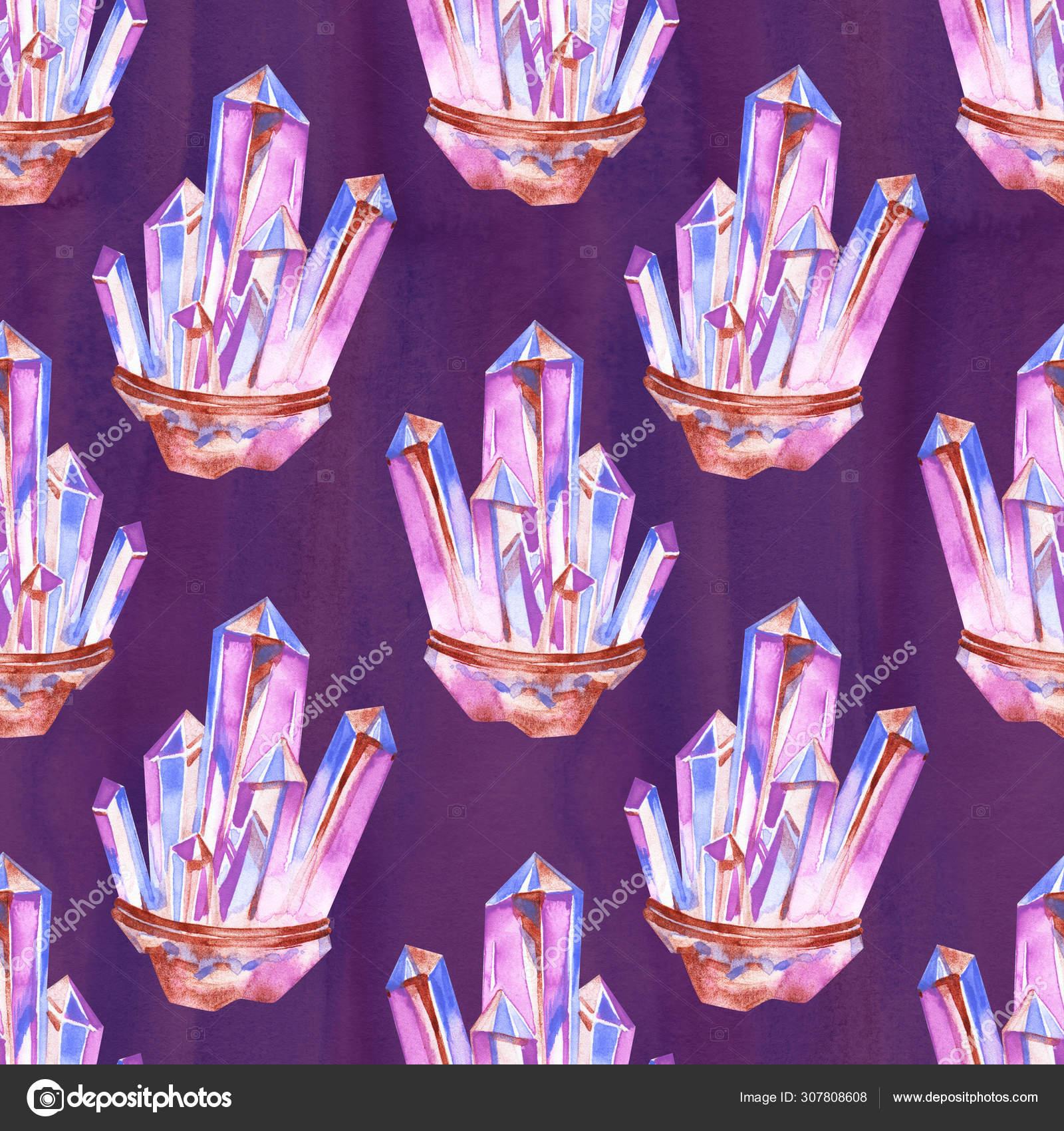 Patrón Sin Costuras De Acuarela Con Cristal De Amatista