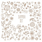 Vector summer set with birds and plants. Doodle contour images no fill.
