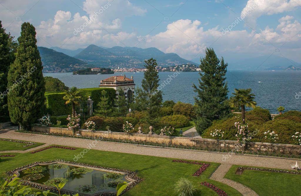 ISOLA BELLA, ITALY - JUNE 2, 2018: View of fantastic garden of Villa Borromeo in the lake Maggiore, Piedmont