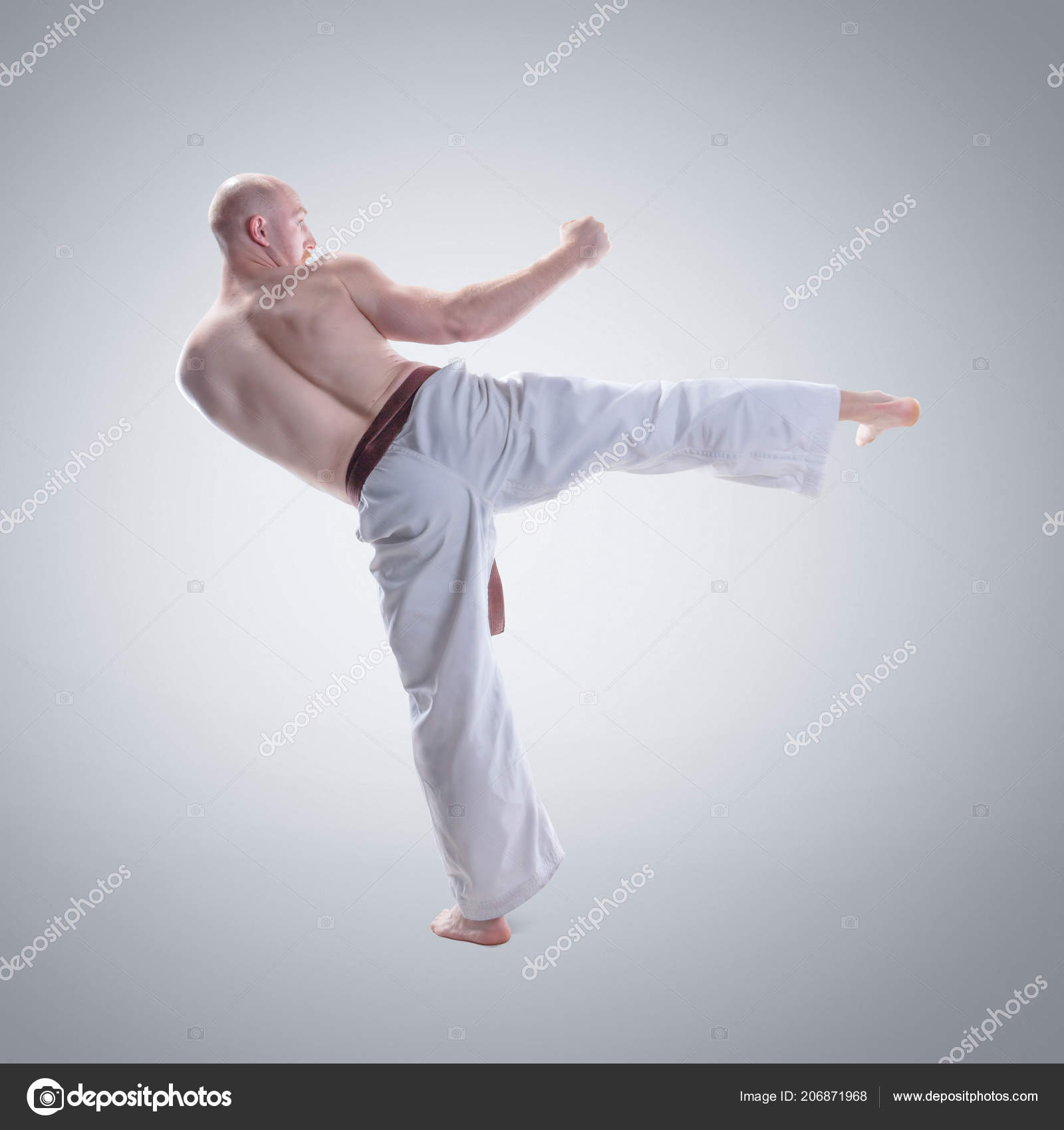 Karate Man Kimono Demonstrate Pose Stock Photo