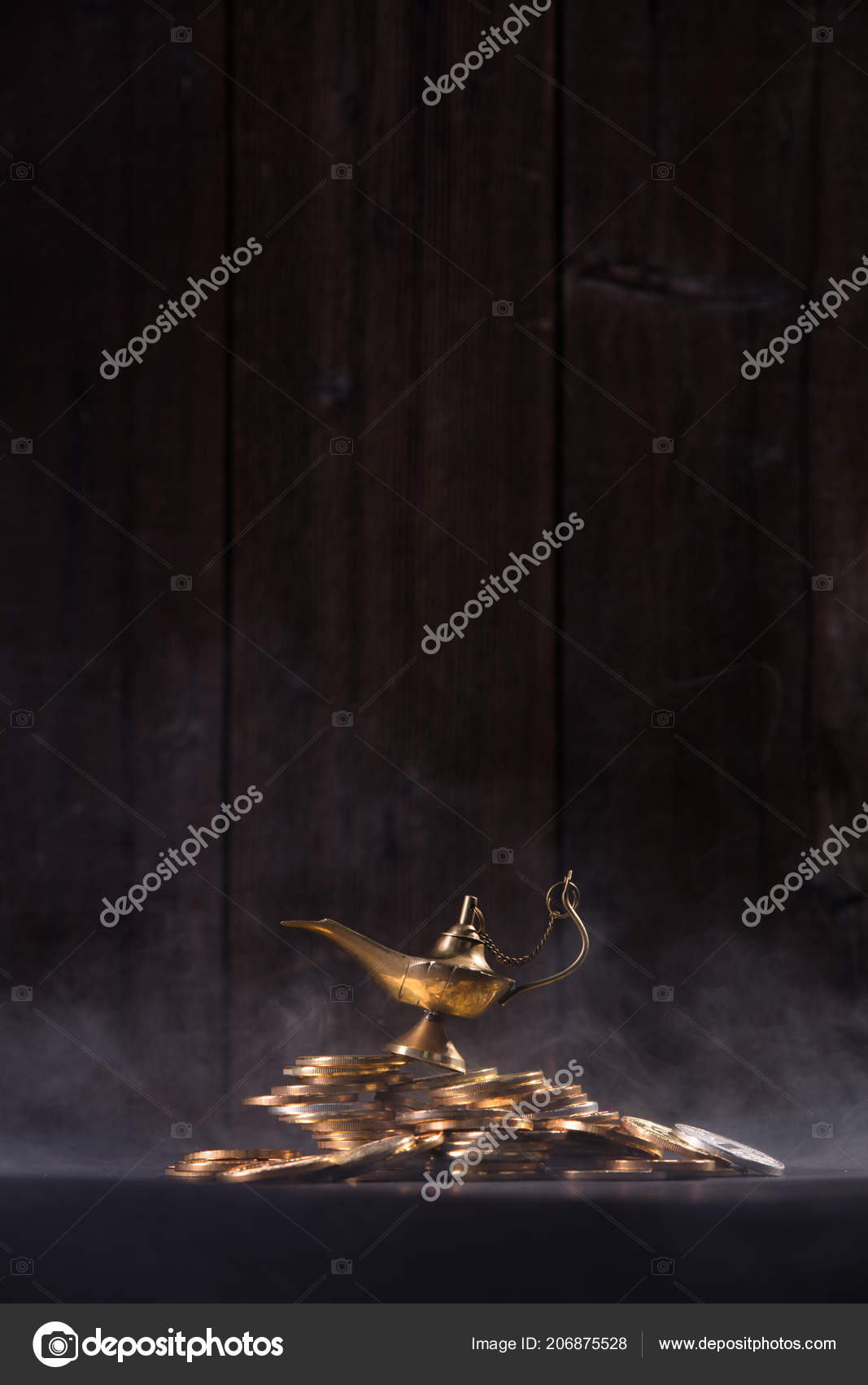 Magic Lamp Wishes Smoke Coming Out Lamp — Stock Photo