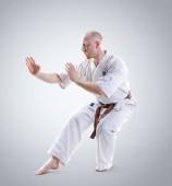 Fényképek Karate man in a kimono demonstrate pose