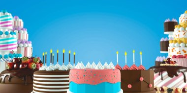 Different buttercream birthday and wedding cakes with colorful elements over background.