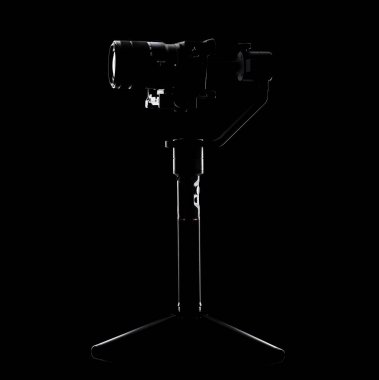 Steadicam and camera on black background. Equipment for the videographer. For shooting smooth & slow motion video. stock vector