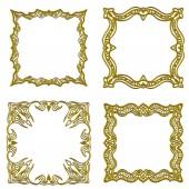 Arany keretek gyűjtemény felett fehér háttér