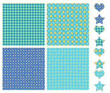 Blue and white tiling textures collection isolated on white stock vector