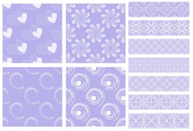 Purple and white tiling textures collection isolated on white stock vector