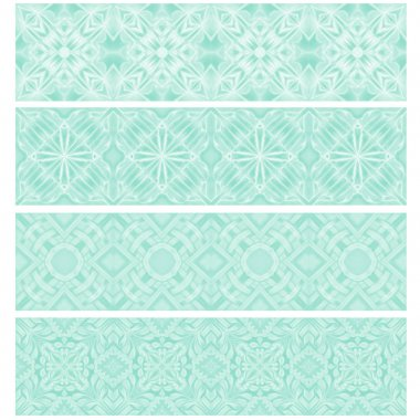 Turquoise trim or border collection over white background stock vector