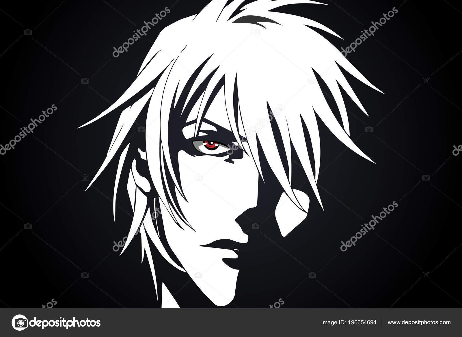 Anime Face Cartoon Anime Red Eyes Black White Background