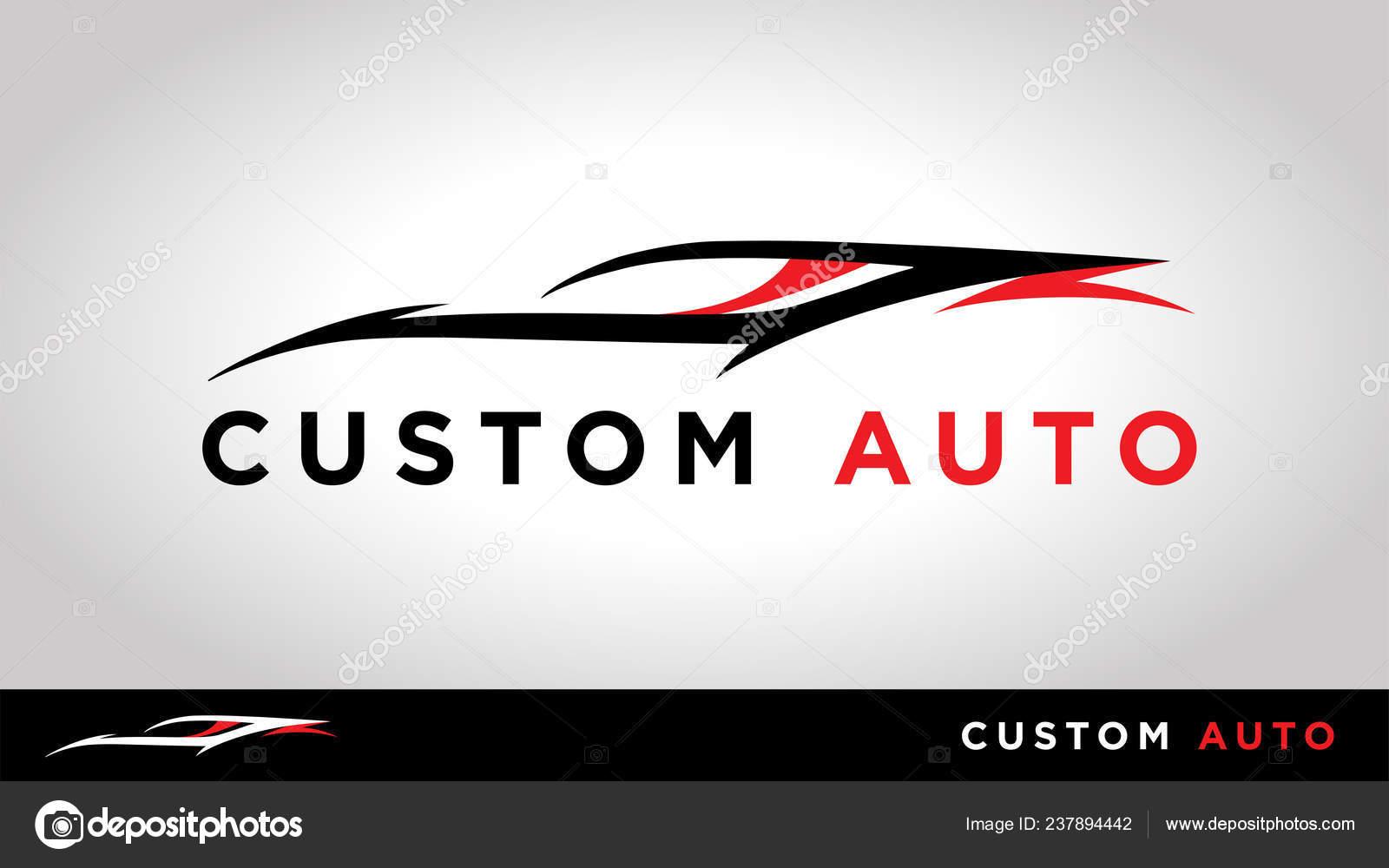 Custom Auto Sportscar Silhouette Vehicle Tuning Shop Logo Design