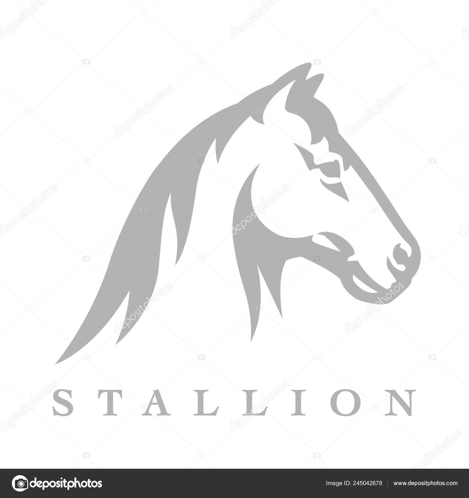 Equestrian Horse Logo Stallion Head Line Style Silhouette Icon Wild