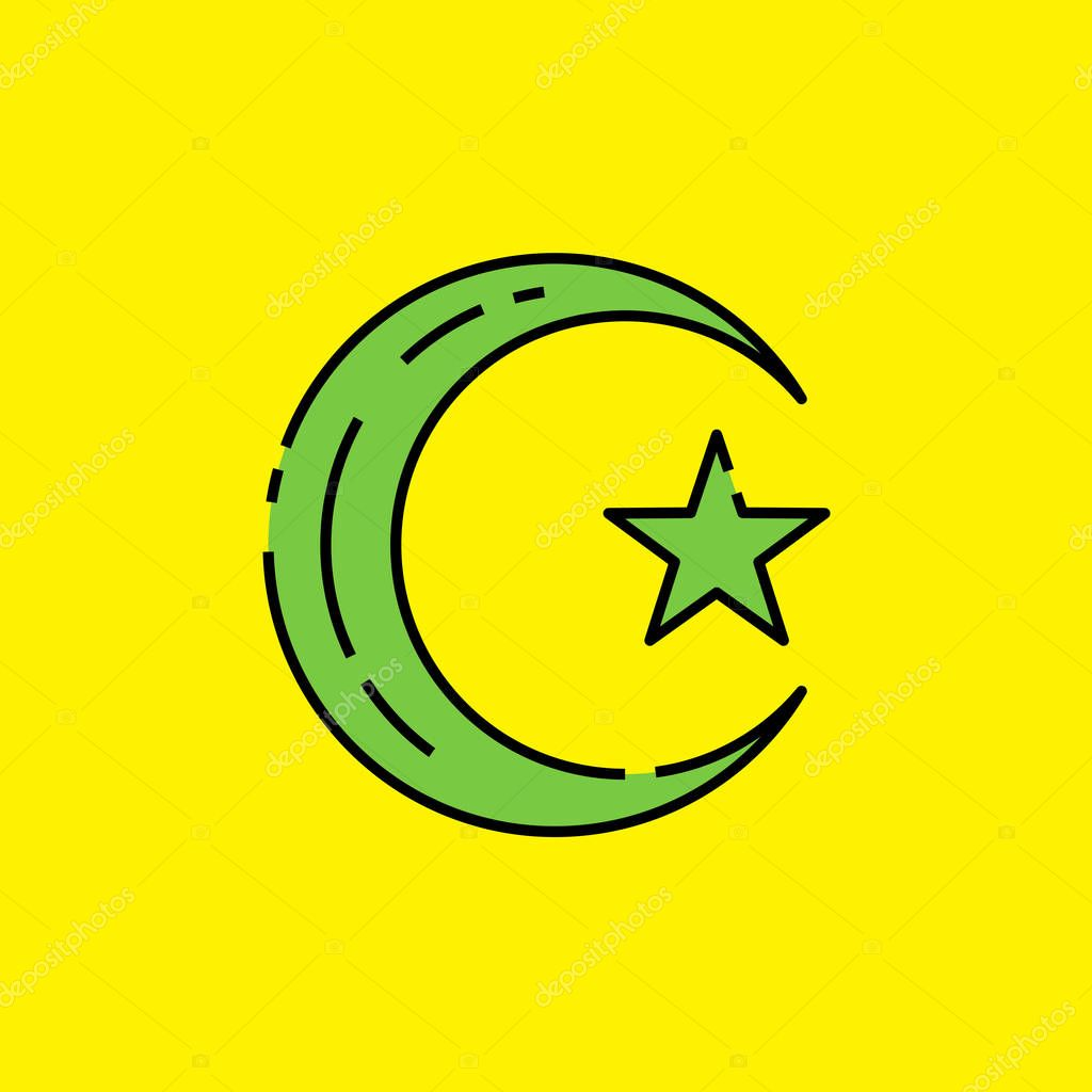 symbol of islam icon muslim religion sign green islamic crescent moon and star isolated on yellow background vector illustration premium vector in adobe illustrator ai ai format encapsulated postscript symbol of islam icon muslim religion