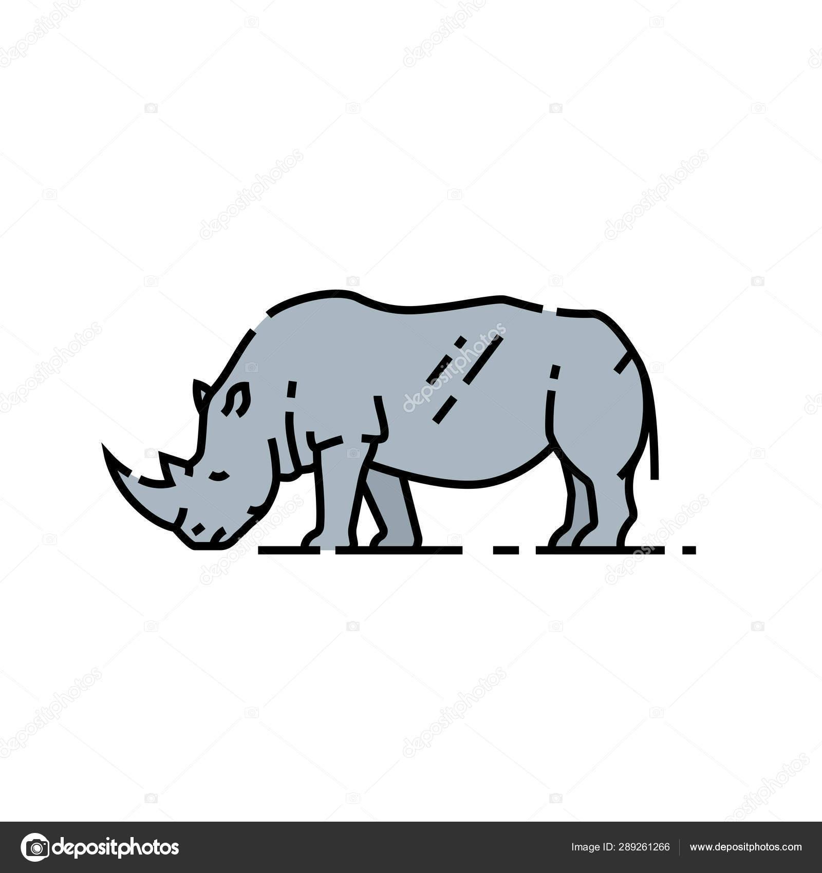 Rhino Line Icon African White Rhinoceros Symbol Wildlife