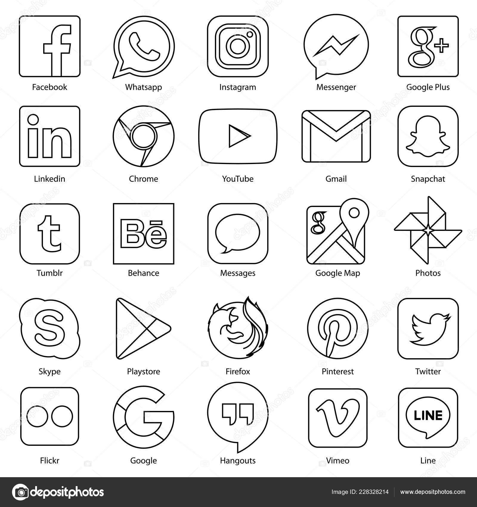 Social media icon for Facebook, Whatsapp, Skype, Youtube, Instagram