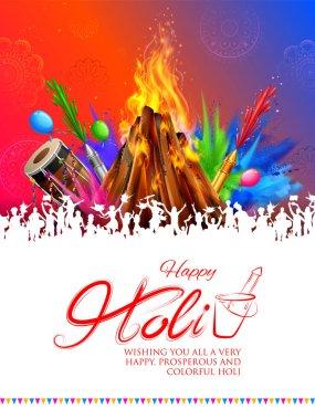 Illustration of Holika Dahan Burning Holika, the devil Happy Holi Background for Festival of Colors celebration greetings stock vector