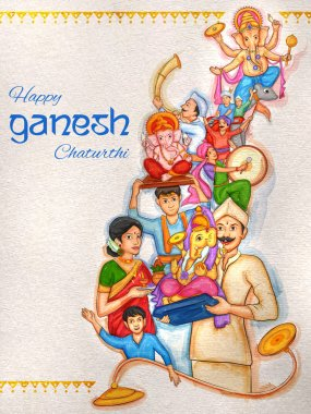Indian people celebrating Lord Ganpati background for Ganesh Chaturthi festival of India