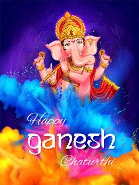 Illustration of Lord Ganesha religious background for Ganesh Chaturthi festival of India stock vector