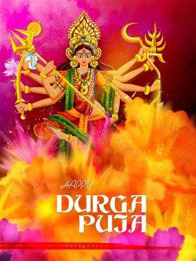 Illustration of Goddess Durga in Happy Durga Puja Subh Navratri Indian religious header banner background stock vector