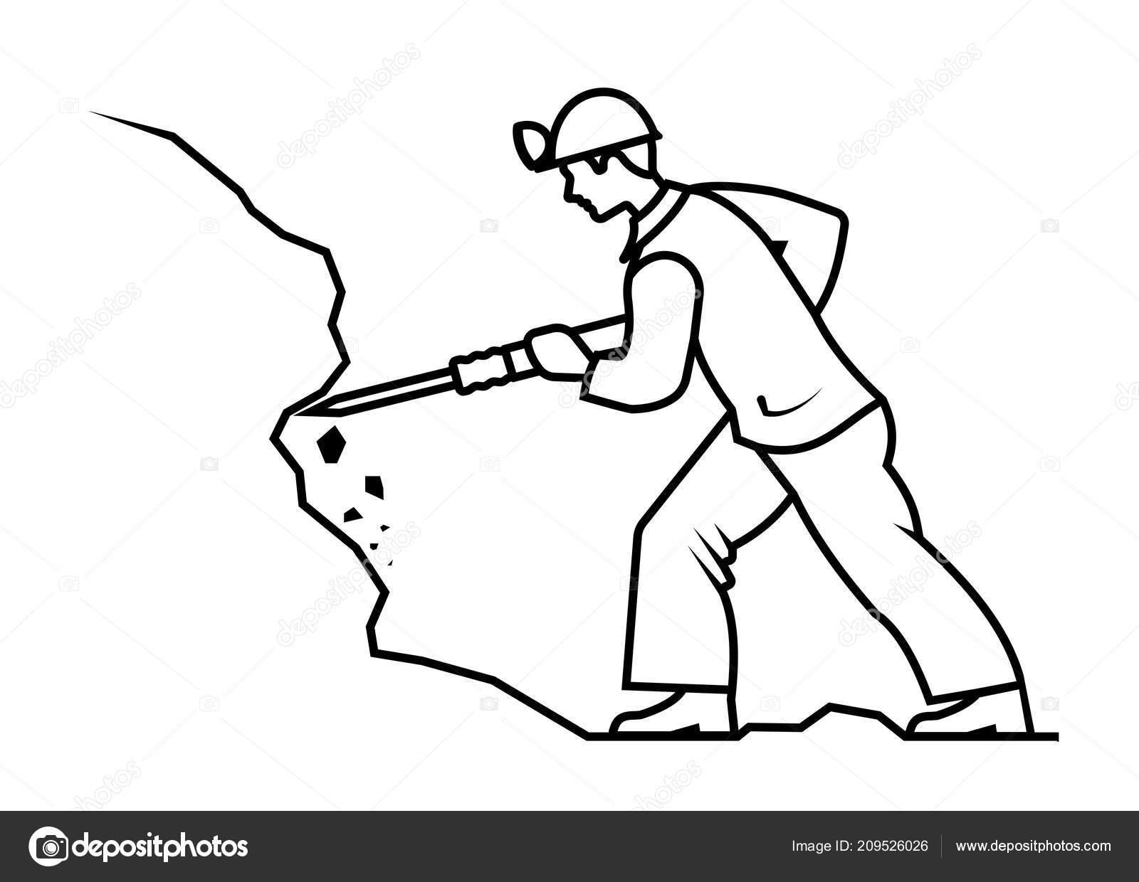 Imagen Presentada Minero Minería Mineral Vector Ilustración