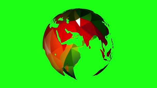 otáčející se planeta na zeleném pozadí