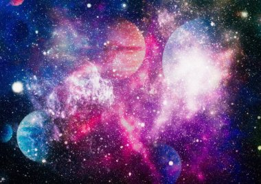 Cosmic clouds of mist on bright colorful backgrounds. Elements of this image furnished by NASA
