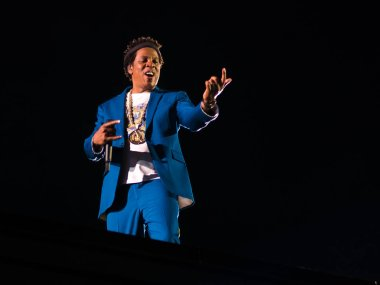Rome Italy, 8 July 2018 , Live concert of Beyonce and Jay-Z OTRII at the Olimpico Stadium : singers the Carters during the concert