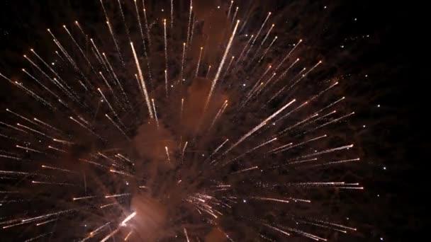ohňostroj na nový rok oslava. Zpomalený pohyb