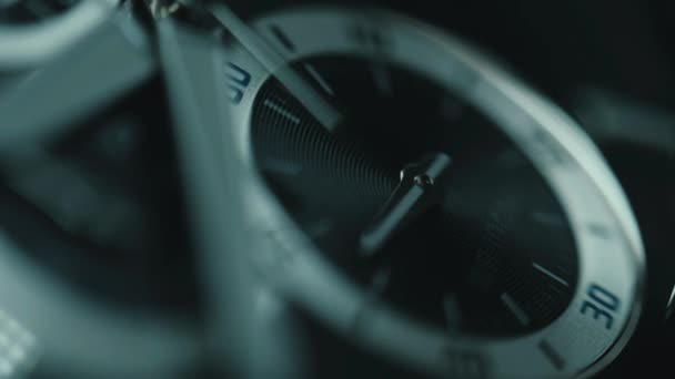 Luxury man watch detail, chronograph or timer close up. Time concept. Macro view