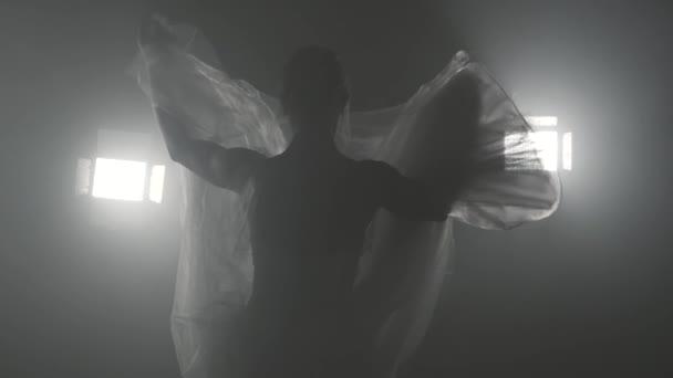 Profesionální tanečnice tančí balet v reflektory na velké scéně. Krásná kavkazské mladá dívka bílá tutu šaty. Černá bílá vintage retro efekt tonned. Zpomalený pohyb