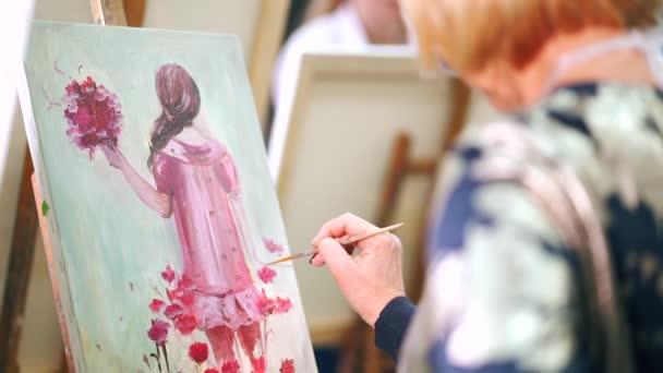 Womans artista mani ritratto dipinto con colori ad olio su tela.
