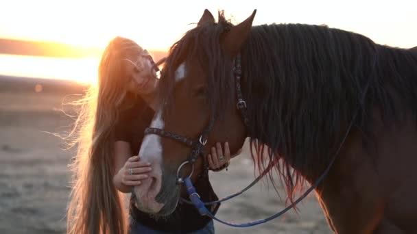 Blonďatá žena hladící a objímající koně. Krásná dáma s černým hřebečkem si užívá západu slunce. Koncept lásky a přátelství. Zpomalený pohyb.