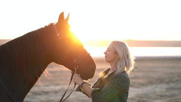 Szőke nő simogatja és ölelgeti a lovat. Gyönyörű hölgy fekete csődörrel élvezi a naplementét. Szerelem és barátság koncepció. Lassú mozgás..
