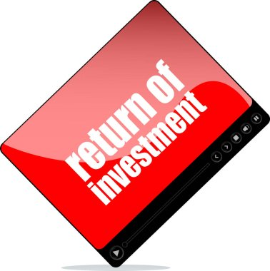 Video player for web with return of investments words